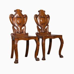 Antique Scottish Victorian Oak Shield Back Side Chairs, 1880, Set of 2