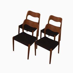 Esszimmerstühle von Niels Otto Møller, 1950er, 4er Set