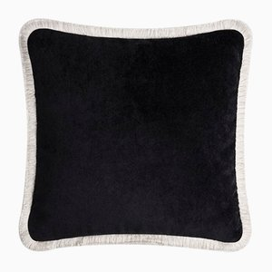 Happy Pillow Soft Velvet Cushion with Black and White Fringes by Lorenza Briola for Lo Decor