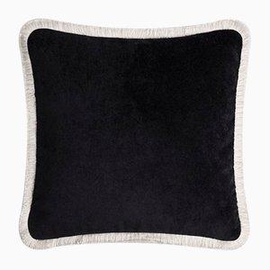 Happy Pillow Weiches Samtkissen mit schwarzen und weißen Fransen von Lorenza Briola für Lo Decor