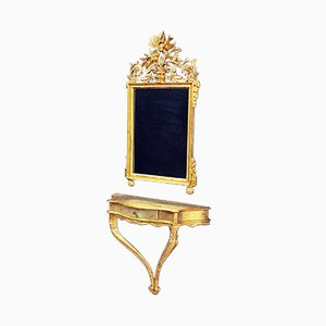 Antiker Konsolentisch mit Spiegelglas und vergoldetem Holzrahmen, 2er Set