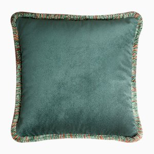 Happy Teal Velvet Cushion with Multi-Colored Fringe by Lorenza Briola