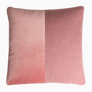 Happy Double Velvet and Wool Cushion with Pink Solid Velvet Reverse by Lorenza Briola