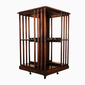 Victorian Crossbanded Flame Mahogany Revolving Bookcase with Marquetry Decoration, 1890s
