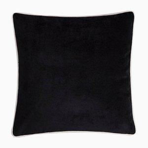 Cojín Happy Frame de terciopelo suave con marco de colores y blanco y negro de Lorenza Briola