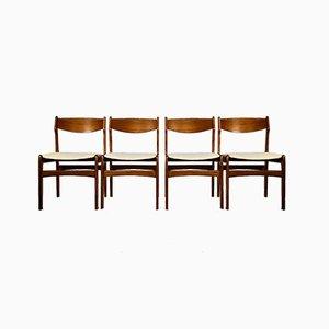 Skandinavische Teak Beistellstühle, 1960er, 4er Set