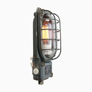 Mid-Century Industrial Cast Iron & Clear Glass Sconce from Schaco