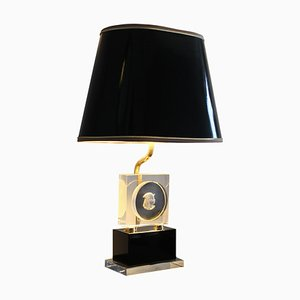 Hollywood Regency Brass & Plexiglass Table Lamp from Maison Jansen, 1970s