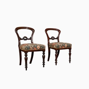 Antique English Victorian Walnut Buckle Back Dining Chairs, Set of 2