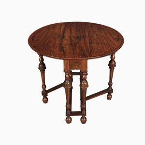 Antique Figured Walnut Gate Leg Pembroke Side Table