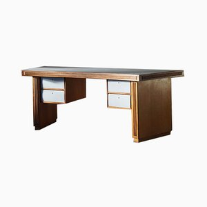 Large Freestanding European Desk in Oak and Grey Laminate, 1940s