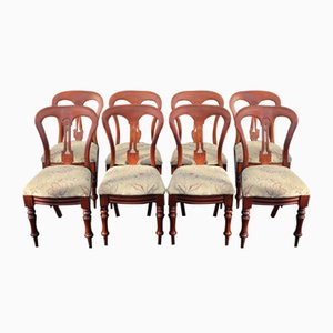 Antique Mahogany Balloon Back Dining Chairs with Pop Out Seats, Set of 8