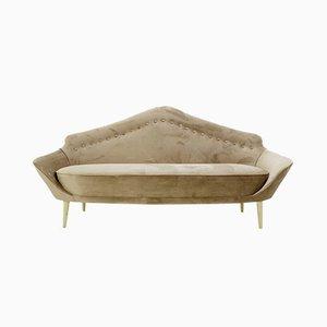 Italian Gray Velvet Sofa with Pointed Back, 1960s