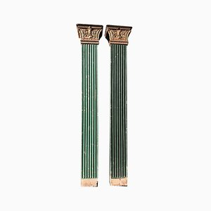 Lacquered Wood and Gold Pillars, Early 1900s, Set of 2