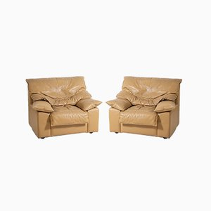 Vintage Italian Camel Leather Armchairs, Set of 2