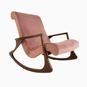 Mid-Century American Rocking Chair in Pink Velvet