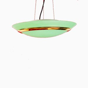 Brass and Glass Ceiling Lamp, 1960s