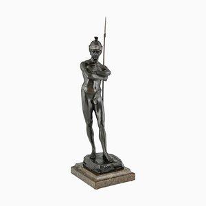Antique Bronze Sculpture of Roman Warrior by Julius Schmidt Felling, 1895
