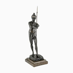 Sculpture Antique de Guerrier Romain en Bronze par Julius Schmidt Felling, 1895