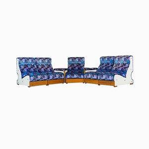 Light Velvet Modular Lounge Chairs, 1970s, Set of 7