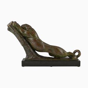 Scultura Art Déco in bronzo di una pantera di André Vincent Becquerel, Francia, 1925