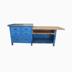 Italienischer Eisen und Holz Werktisch, 1970er