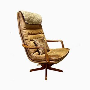 Poltrona reclinabile in pelle, Scandinavia, anni '60