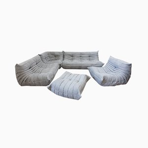 Light Grey Leather Togo Living Room Set by Michel Ducaroy for Ligne Roset, 1970s, Set of 5