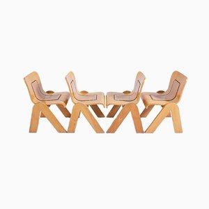 Holz und Leder Esszimmerstühle von Mario Sabot, 1950er, 4er Set