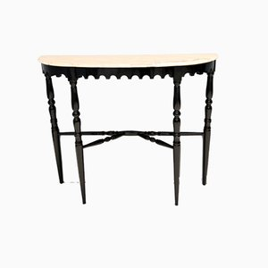 Mid-Century Italian Ebonized Beech Console Table with Portuguese Pink Marble Top, 1960s