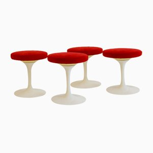 Tulip Swivel Stool with Red Suede Seat from Knoll, 1970s