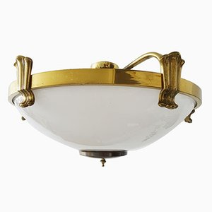 Large Opaline Glass & Brass Ceiling Lamp from Sölken Leuchten, 1960s