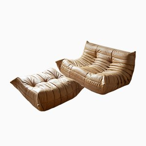 Camel Brown Leather Togo Lounge Chair & Pouf Set by Michel Ducaroy for Ligne Roset, 1970s, Set of 2