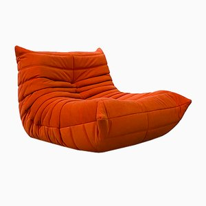 Vintage Togo Lounge Chair in Orange by Michel Ducaroy for Ligne Roset, 1970s.