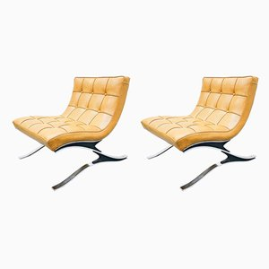 Italian Steel & Faux Leather Lounge Chairs, 1970s, Set of 2