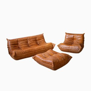 Vintage Dubai Pine Leather Togo Living Room Set by Michel Ducaroy for Ligne Roset, Set of 3