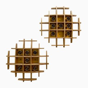 Italienische Lampen aus Holz & Messing von Esperia, 1970er, 2er Set