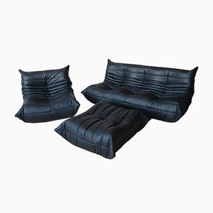 Vintage Black Leather Togo Living Room Set by Michel Ducaroy for Ligne Roset, 1970s, Set of 3