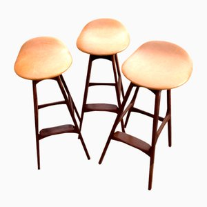 Rosewood Bar Stools by Erik Buch for Oddense Maskinsnedkeri / O.D. Møbler, 1960s, Set of 3