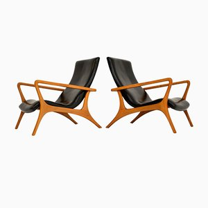 Vintage Leather Armchairs in the Manner of Vladimir Kagan, 1960s, Set of 2