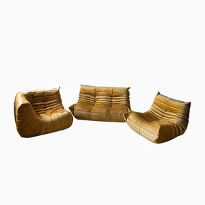 Goldenrod Velvet Togo Living Room Set by Michel Ducaroy for Ligne Roset, 1979, Set of 3