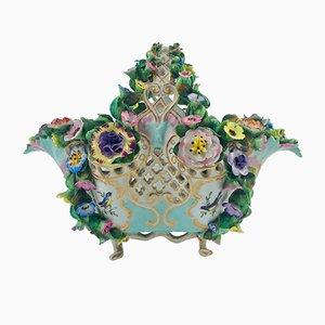 Antiker Korb aus Porzellan mit Blumenmusterung von Meissen, 1800er