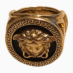18K Gold Medusa Ring by Gianni Versace