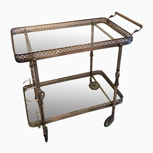 Neoclassical Style Trolley with Silver Brass Finish, 1940s