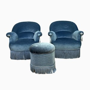 Antique Napoleon III Style Tub Chairs and Ottoman, Set of 3