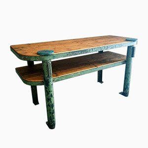 Industrieller Stahl & Holz Werktisch, 1950er