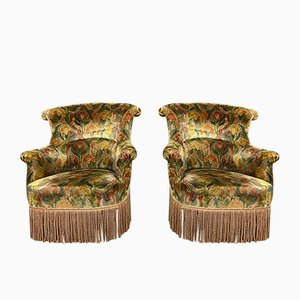 Armless Toad Napoleon III Chairs and Ottoman, 19th Century, Set of 3