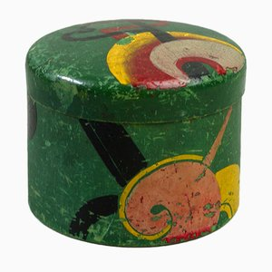 Modernist Abstract Painted Wooden Lidded Jar, 1930s