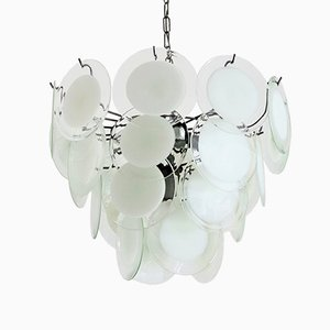Italian Murano Glass Disc and Chrome Chandelier, 1970s