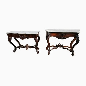 Antique Rosewood Console Tables, Set of 2